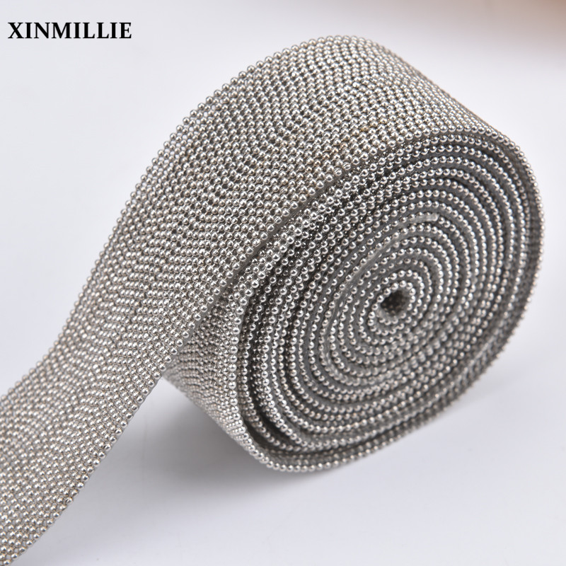 1meter/Lot Hotfix Trim Beaded Chain Sewing For Clothes 24rows Iron On Garment Shoes Bags Belt Wedding Decoration DIY Accessories