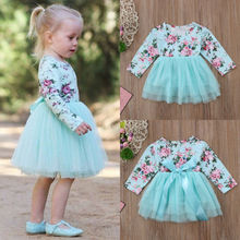 Toddler Baby Girl clothes Long Sleeve Floral Tulle Party Pageant Forma