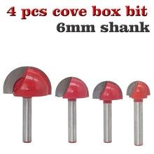 4pc 6mm shank cnc ferramentas de carboneto sólido redondo nariz bits redondo caixa núcleo cove roteador bit shaker cortador ferramentas para trabalhar madeira