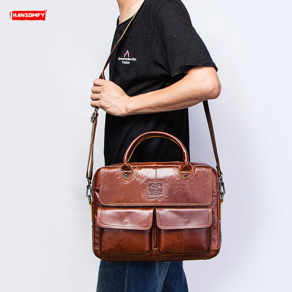 Genuine Leather Men's Handbags First Layer Leather Business Laptop Briefcase Crossbody Bag Brown Leather Shoulder Messenger Bags