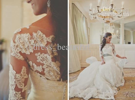 custom made sleeves lace appliques a line vestido de noiva 2018 new fashion sexy long wedding dress bridal gowns free shipping in Wedding Dresses from Weddings Events