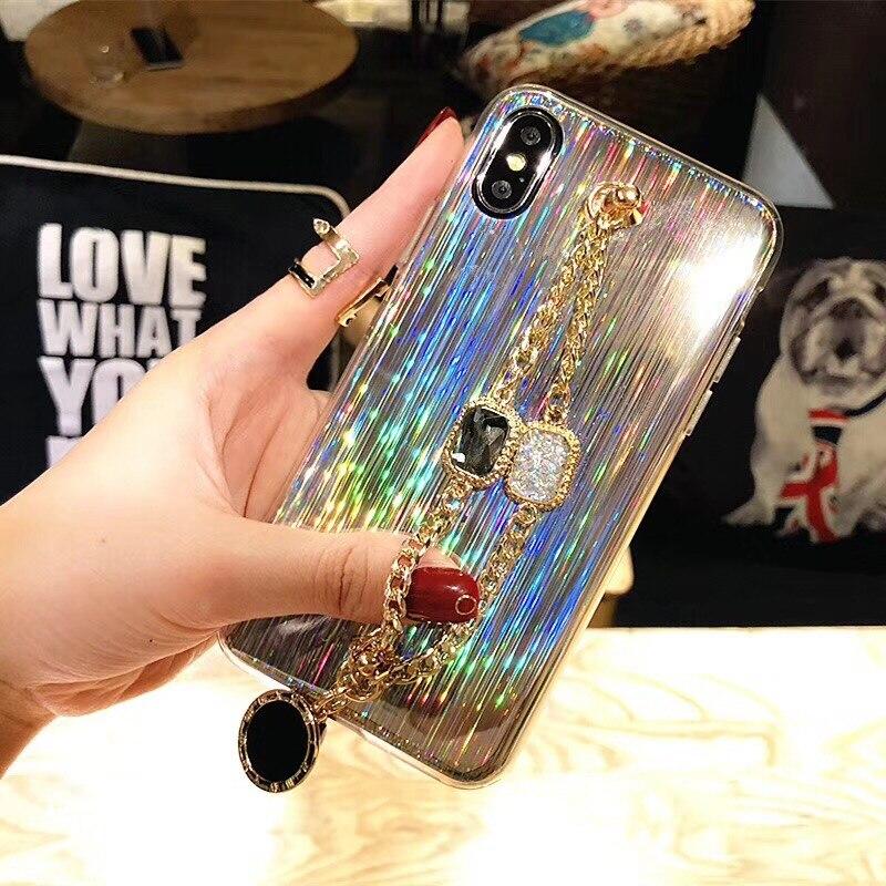 Für iphone 6 6s 7 8 plus X XS MAX XR Luxus Mode glitter diamant Armband funken Laser weichen silikon telefon fall abdeckung