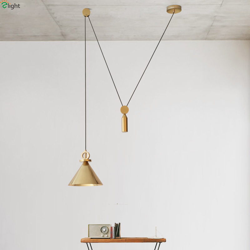 Nordic Simple Copper Metal Led Pendant Lights DIY Dining Room Led Pendant Lamp Bedroom Led Pendant Light Hanging Lights Fixtures crysta lamp pendant lights lounge dining room bedroom lamp lychee simple new european style warm crystal hanging lamp