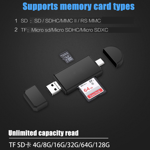Type C & micro USB & USB 3 In 1 OTG Card Reader  High-speed USB2.0 Universal OTG TF/SD for Android Computer Extension Headers Lahore