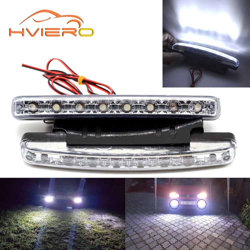 2X Auto Car Daytime Running Light with Lens 8LED Waterproof DRL Daylight Led White DC 12V 24V Head Lamp Parking Bulb Fog Lights new arrival 20w 2500lm epistar cob chip h1 led head lights bulb 12v 24v auto car daytime running light headlights 6000k white