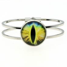 Cuff Bangles For Women High Quality Handmade 25mm Yellow Eye Glass Cabochon Dome Bangle Gift Fashion