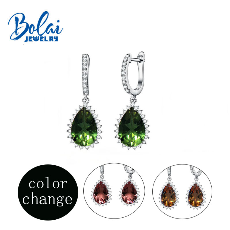 Bolaijewelry, Color Change Zultanite 925 Sterling Silver Water Drop Earring For Women Created Gemstone Fine Jewelry Anniversary