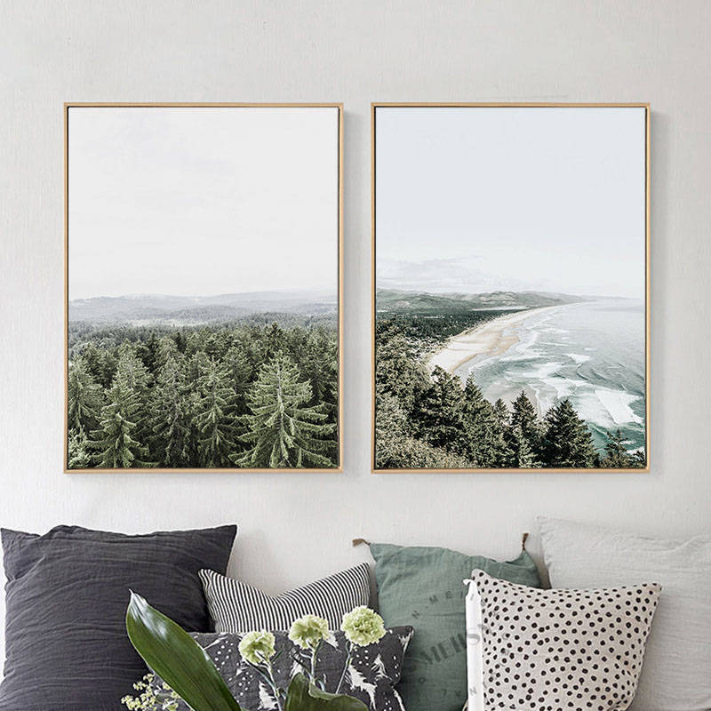 Nordic Creative forest Landscape beach Decorative wall pictures for Living Room Modular pictures scandinavian home decor
