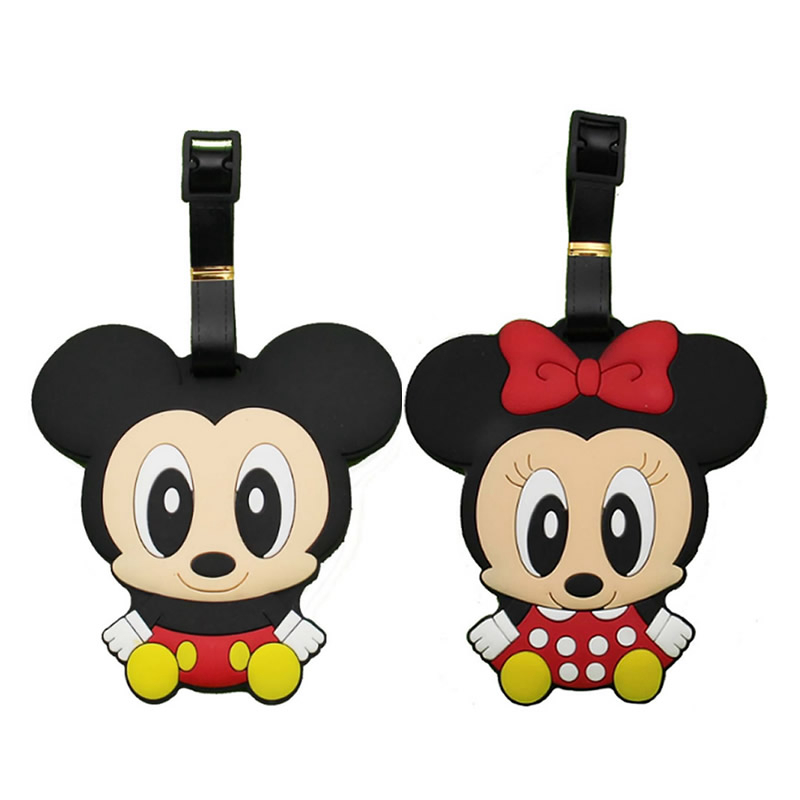 Women Cartoon Minnie Mickey Silica Gel Luggage Tag Travel Accessories Portable Label Suitcase ID Address Holder Baggage Boarding