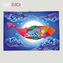 Custom Soft Fleece Throw Blanket Kids Fish Cute Sleeping Baby Floating on Cartoon Fish in Sky Big Moon Stars Clouds Dreamy(China)