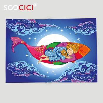 Custom Soft Fleece Throw Blanket Kids Fish Cute Sleeping Baby Floating on Cartoon Fish in Sky Big Moon Stars Clouds Dreamy