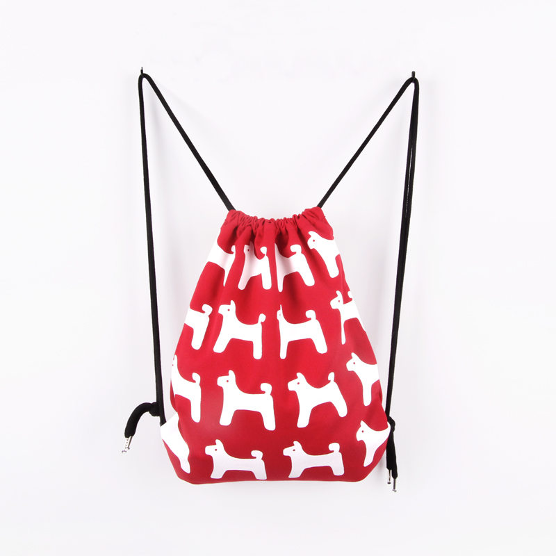 Original design brand lovely sheep and dog print cute pure cotton and canvas women bag string