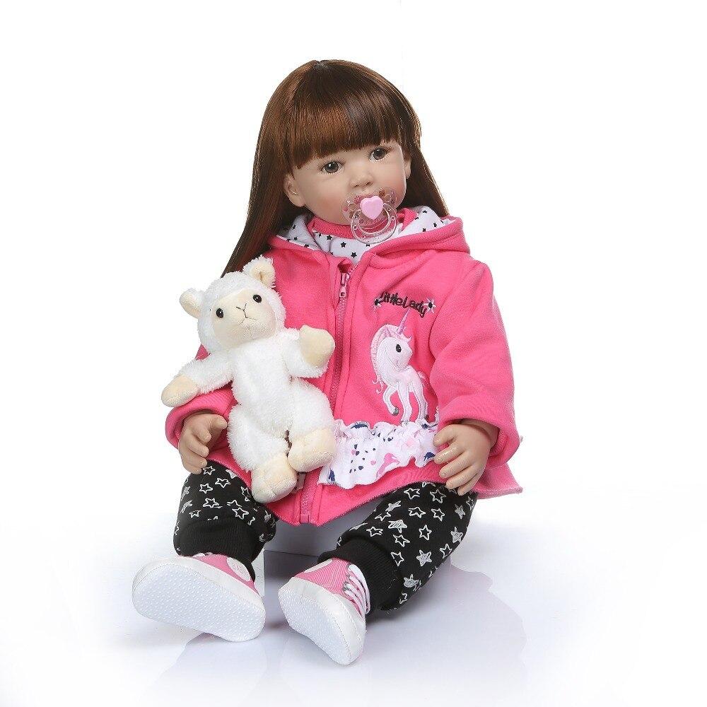 60CM grande taille bb reborn todder fille princesse poupée longue doux cheveux peigne jouet amusant doux au toucher silicone vinyle reborn bébé poupée cadeau