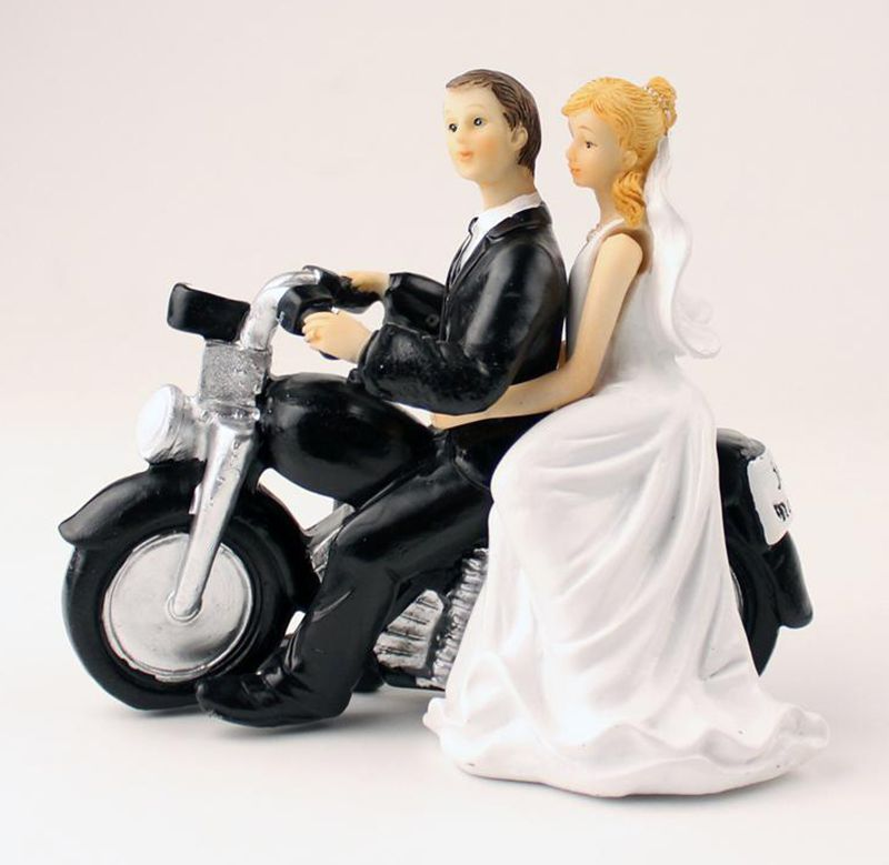 Creative Bride And Groom Riding font b Motorcycle b font Wedding Rops Cake Topper High Grade