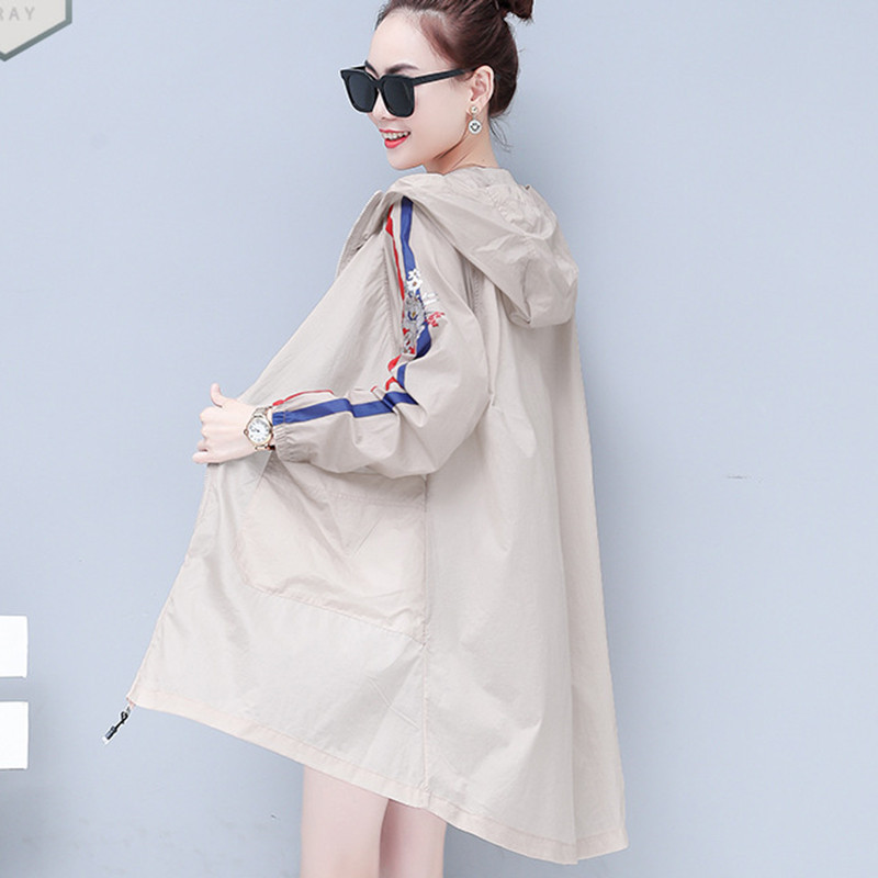 Women Long Hooded   Trench   Coat print Thin Sunscreen Clothing 2019 Korean fashion Spring Summer Windbreaker Plus Size Outerwear
