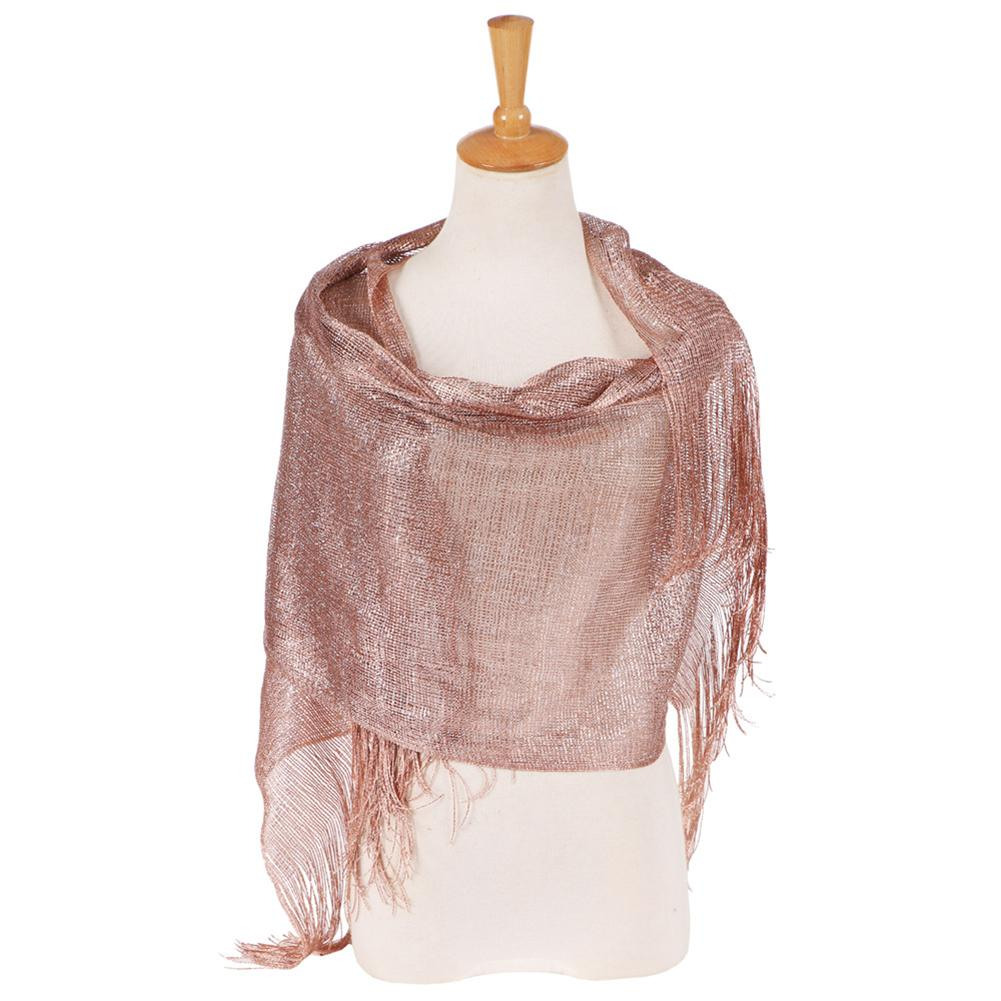 Fashion Glossy Solid Color Tassels Soft Banquet Evening Party Women Shawl Scarf Wrap