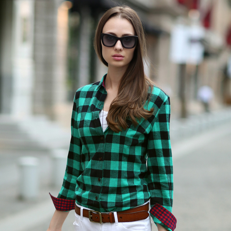 VERI GUDE Women S Street Fashion British Style Pure Cotton Long Sleeve Plaid Shirt
