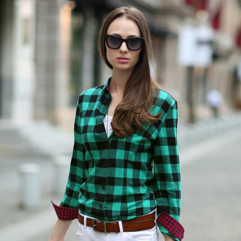 VERI GUDE Women S Street Fashion British Style Pure Cotton Long Sleeve Plaid Shirt