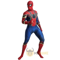High Quality Superhero Spiderman Iron Spider 3D Muscle Shadings Tight Party Zentai Suit Halloween Cosplay Carnival Costume