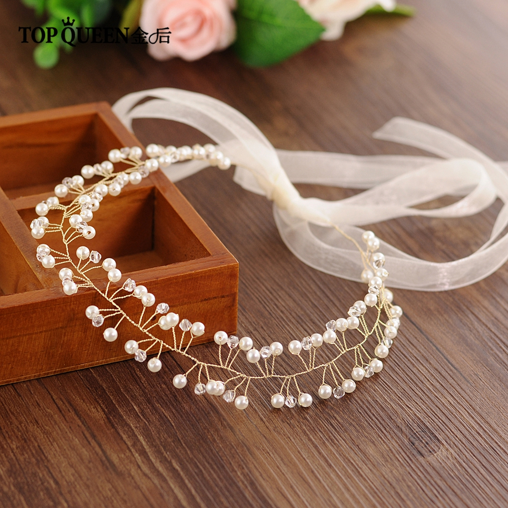 TOPQUEEN HP47-G Handmade Hair Jewelry Wedding Headbands For Women Bridal Flower Hair Accessories Tiara Wedding Head Piece Party