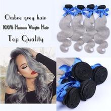 Top Grade 4 Bundles Brazilian Gray Hair Unprocessed Brazilian Virgin Hair Body Wave Color 1b/ Grey Brazilian Human Hair Bundles