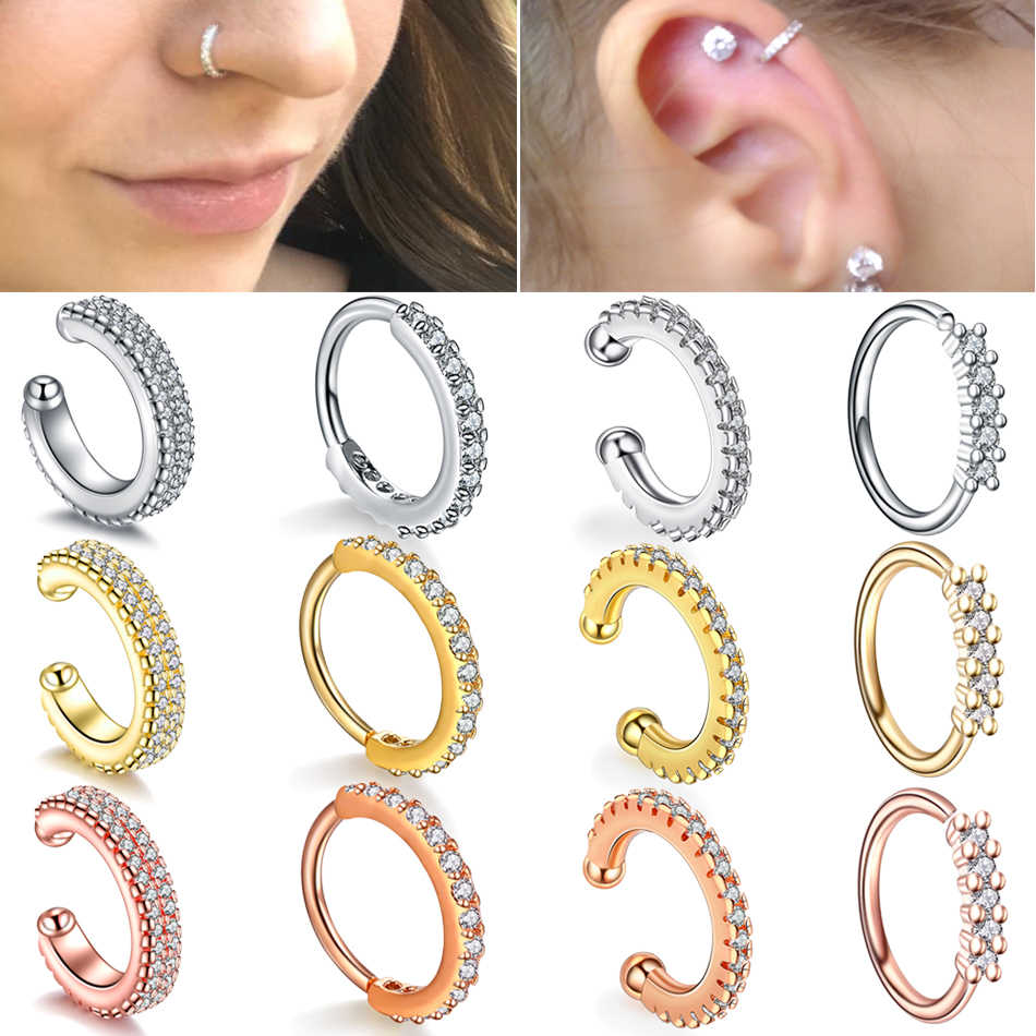 1PC Septum Rings Pierced Ear Piercing Septo Faked Piercings Nose Ear Cartilage Tragus Helix Piercing Clicker Rings Body Jewelry