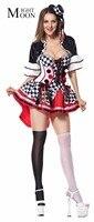 MOONIGHT Deluxe Harlequin Halloween Costume Cosplay Sexy Circus Clown Horror Costume Fancy Costume Dress Women