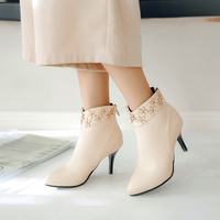 Women's Winter Boots Fashion Plus Size 43 Thin Heel pointed with Flower Boots Ladies Zipper Short Plush Comfy Ankle Boot Female