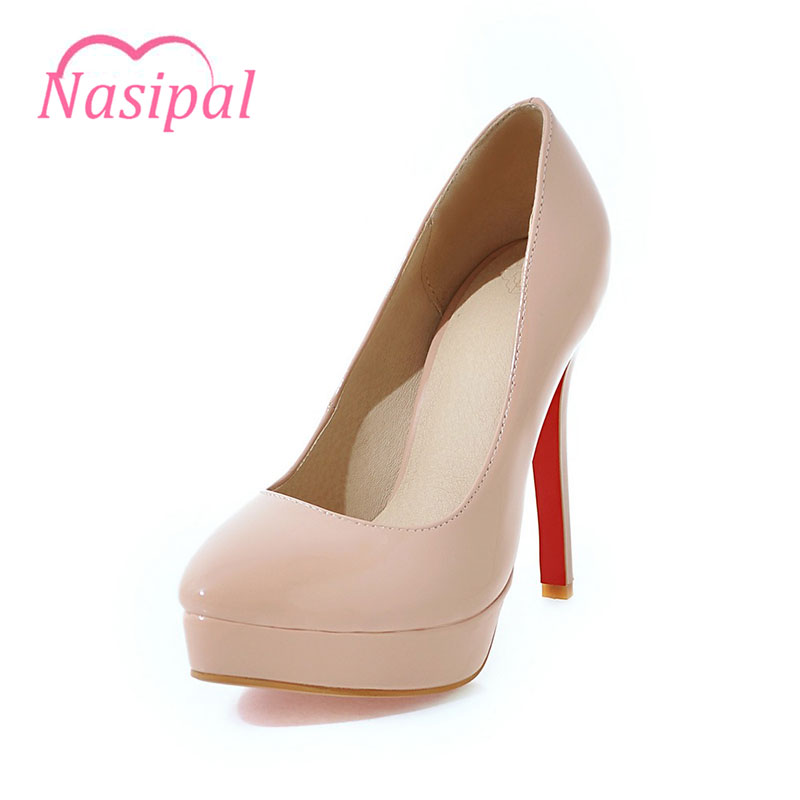 Nasipal Spring Autumn Women Shoes Fashion Pumps Woman Patent Pointed Toe Super High Heels Platform Heel Big Size30-48 Pumps C039