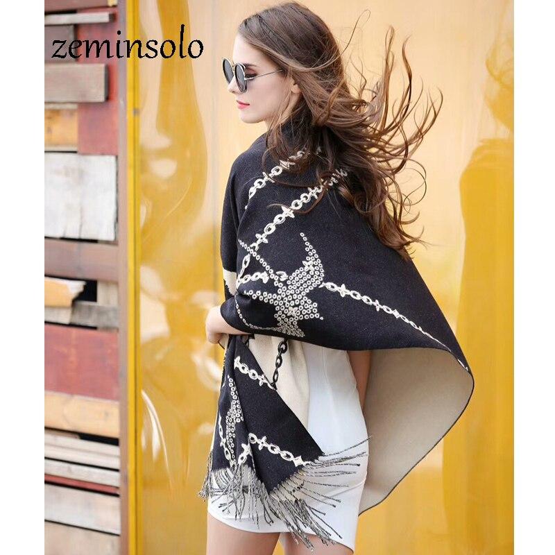 2018 luxus Marke Frauen Schal Mode Herbst Winter Kaschmir Schals Frauen Wärmer Pashmina Quasten Schal Wraps Bandana Foulard