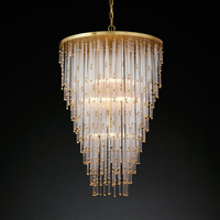 Nordic Circular Crystal Chandelier Living Room Dining Room Bedroom Lighting Simple Atmosphere Modern Crystal Chandelier For