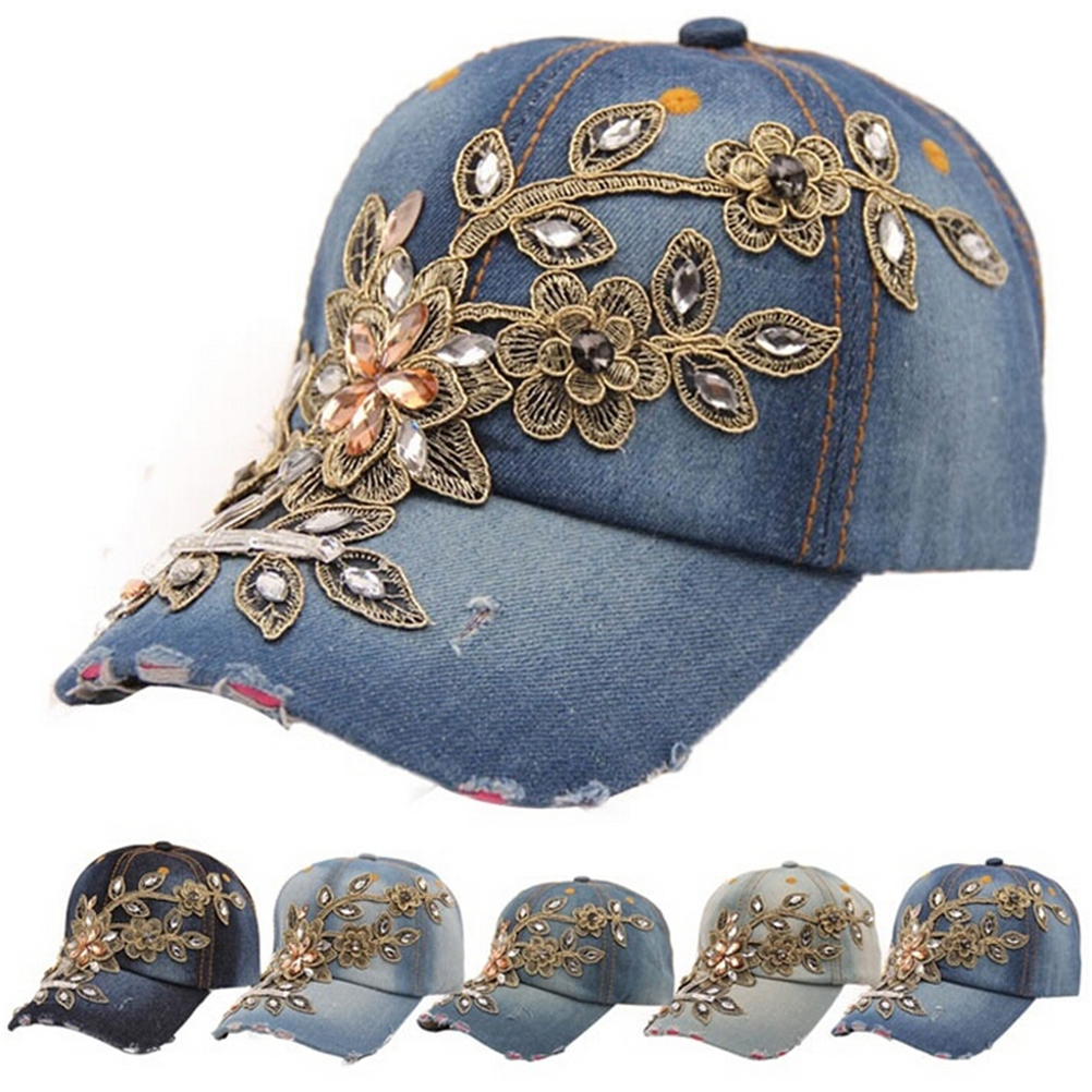 1pc Full Crystal Floral Denim Baseball Cap Bling Rhinestone Hip Hopsnapback Hat Adjustable For Women Apparel Accessories