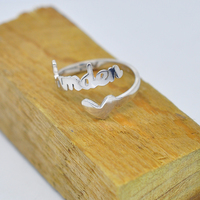 Wholesale Sterling Silver Personalized Name Spiral Ring With Heart Custom Initial Handmade Nameplate Jewelry Anillo Collar