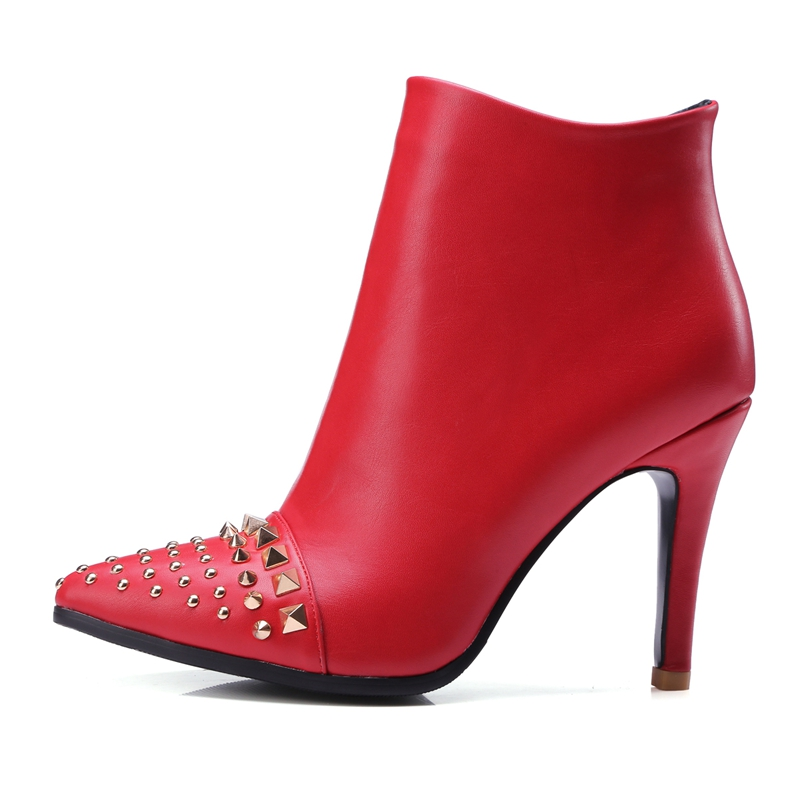Autumn Winter High-heeled Boots Pointed Toes Rivet Thin Heels Ankle Boots Women's Pumps High Heel Shoes Size 34-43 7709