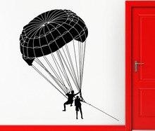 Deporte extremo Paracaidismo Mural Decal Paracaidista Paracaidismo Patrón Fresco Creativa Etiqueta de La Pared Home Room Decor Envío ShippingM-62