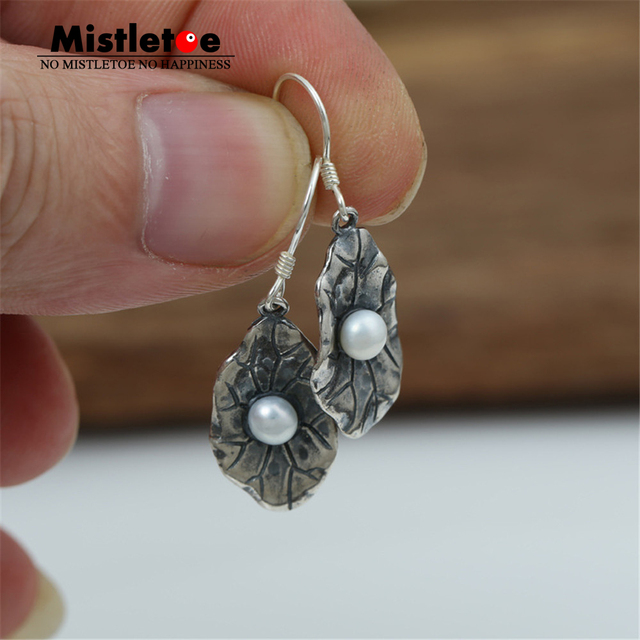 Authentic 925 Sterling Silver Vintage Punk Lotus leaf With Pearl Drop Earrings For Women Or Men Jewelry