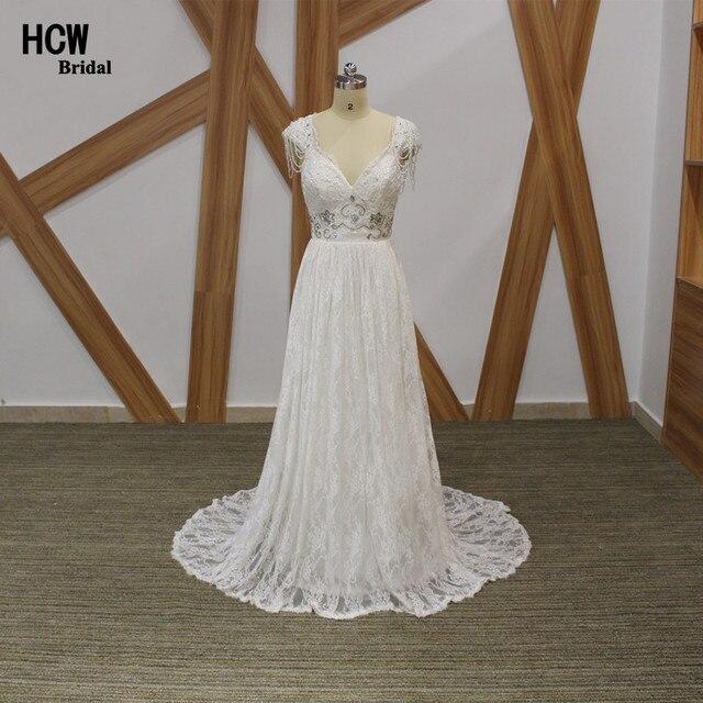Romantische Boho Hochzeitskleid Exquisite Perlen Spitze Strand
