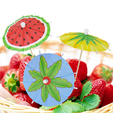 100Pcs Mixed Color Mini Umbrellas Parasol Snack Cocktail Party Pick Decoration Bar accessory Wooden Handle Small