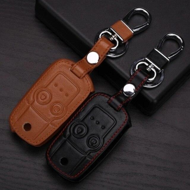 Leather Car Key Cover case for HONDA CRV Odyssey 2 Buttons Flip Car keychain key wallet bag