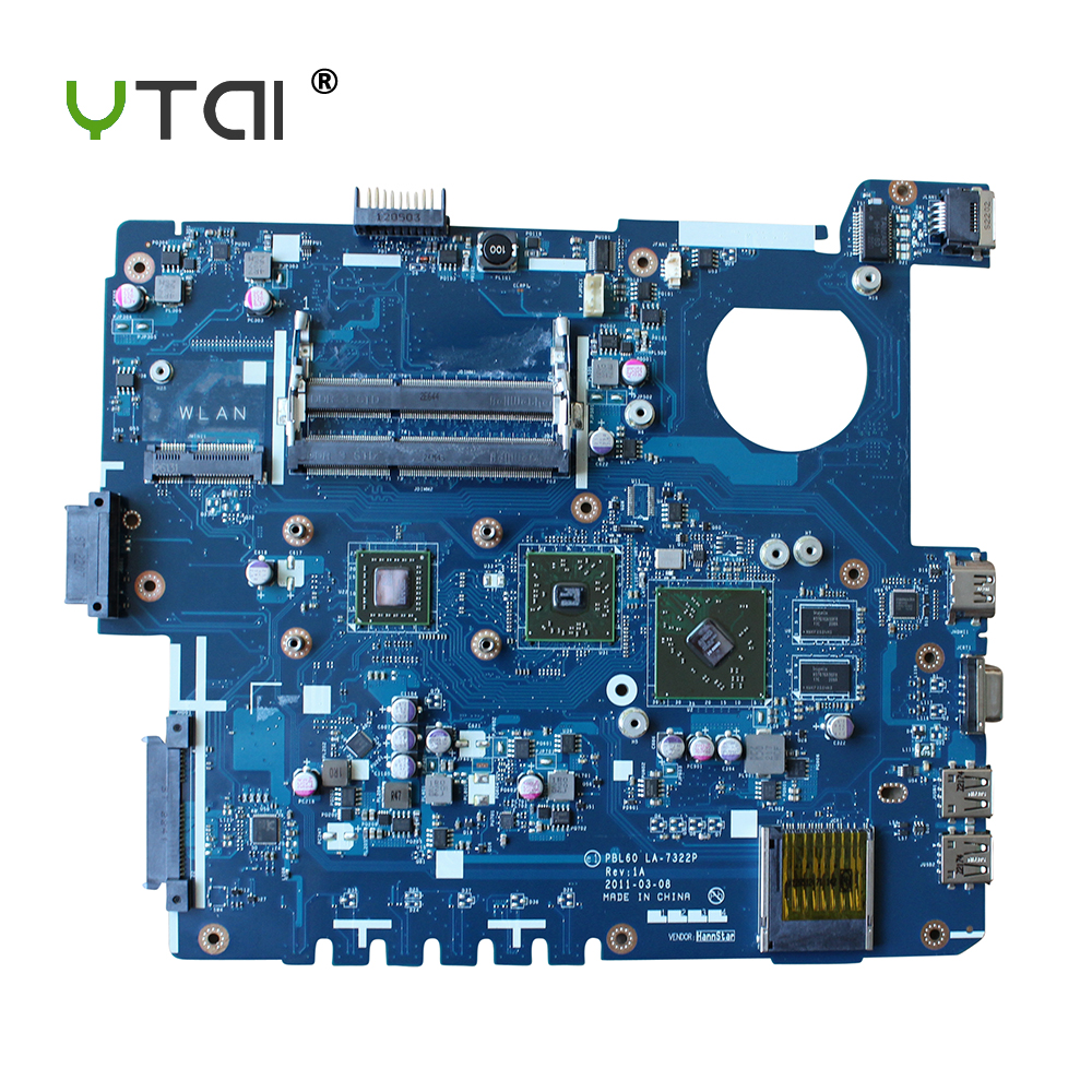 YTAI original PBL60 LA-7322P For ASUS X53B X53U K53BY K53BR K53B Laptop Motherboard CPU onboard with DDR3 mainboard fully tested