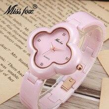Srta Fox genuino de Lujo De Cerámica Relojes Para Mujer Marca Casual Ladies Lindo Flor Dial Mujer Reloj de Cuarzo Reloj de pulsera para Las Mujeres