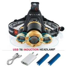 2017 novo Sensor INFRAVERMELHO de Indução led head lamp cree xml t6 USB farol Farol cabeça da tocha zoom 18650 Lanterna à prova d' água luzes