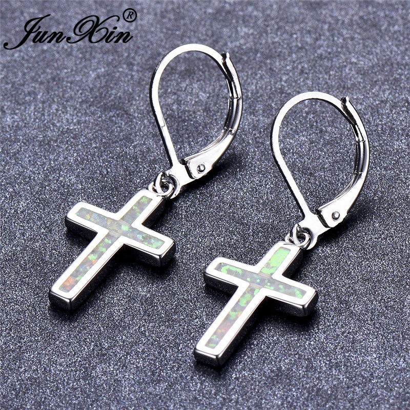JUNXIN Blue White Fire Opal Earrings For Women Silver Color Rainbow Cross Drop Earrings Female Birthstone Earrings