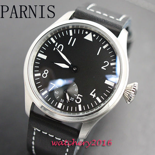 47mm Parnis black dial men s font b watches b font of the famous luxury brand