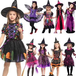 Image 3 - 2019 New Witch Suit Cosplay Halloween Party Children Costume For Girls Halloween Clothing Set Witch Dress Hat cloak Accessories