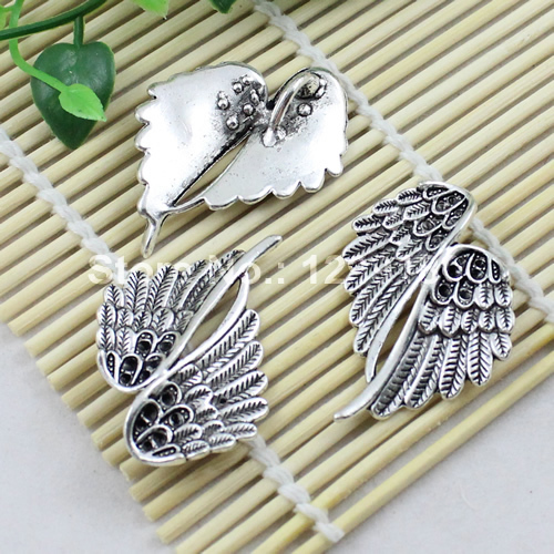 30pcs/lot Metal Zinc Alloy Silver Tone Angel Wing Charm Pendant For Necklace DIY Jewelry Making Accessories 44x34mm (K00832)