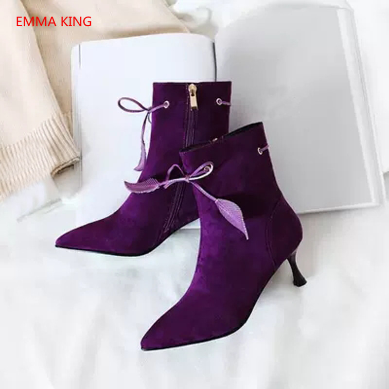 Luxury Suede Lace Up Women's Ankle Boots Pointed Toe Sexy Black Purple High Heels Winter Ladies Shoes Runway Woman Martin Boots - 3