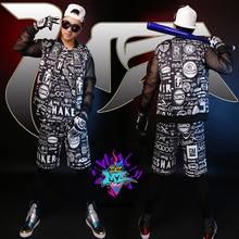 2016 Новый стиль DJ певец правой чжи – лонг д . костюмы мужская черный сетка рукав белый свитер граффити костюм