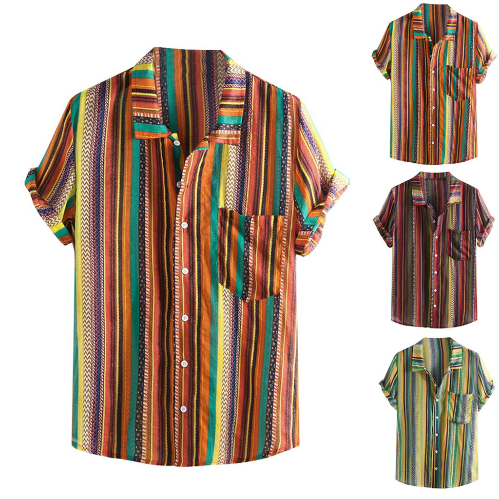 Summer Plus Size Men Ethnic Printed Stand Collar Colorful Stripe Short Sleeve Loose Shirt Camisa Masculina Hawaiian Streetwear