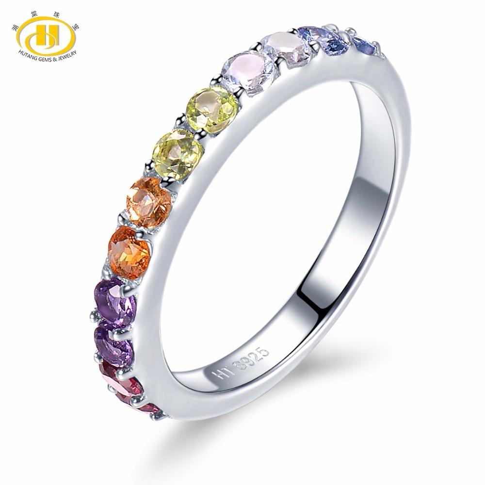 цена Hutang Natural Gradation Color Multi Gemstone Citrine Garnet Peridot Solid 925 Sterling Silver Ring Fine Jewelry presents Gift онлайн в 2017 году